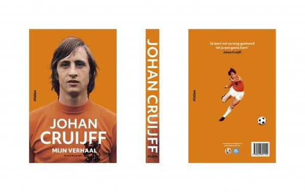 Omslag Johan Cruijff Mijn verhaal, voorzijde, rug en achterzijde